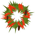 Christmas wreath abstract green with pine cones Royalty Free Stock Image