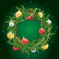 Christmas wreath with balls. Congratulation. New Year`s and Christmas.