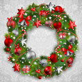 Christmas wreath with baubles Royalty Free Stock Images