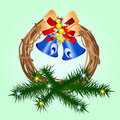 Christmas Wreath with Bells Royalty Free Stock Image