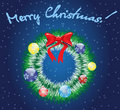Christmas wreath on blue background Royalty Free Stock Photos