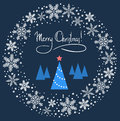 Christmas wreath with blue tree Royalty Free Stock Photos