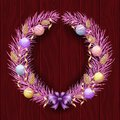 Christmas wreath border. Frame of violet pine. Merry Christmas and Happy New Year 2019. Purple branches of a Christmas tree in the