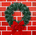 Christmas Wreath with Bow Stock Photos