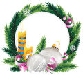 Christmas wreath with burning candles Royalty Free Stock Photography