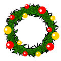 Christmas Wreath  cartoon. Royalty Free Stock Photo