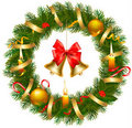 Christmas wreath with christmas tree and bell Stock Photo