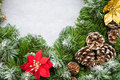 Christmas wreath close up of a with pine cones Stock Image