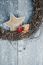 Christmas wreath close up of rustic in winter snow Royalty Free Stock Images