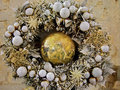 Christmas wreath decoration with ball toy in white and golden colors Royalty Free Stock Photography