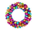 Christmas wreath with decoration balls isolated on white Royalty Free Stock Photo