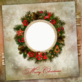 Christmas wreath with decoration on a vintage background frame and decorations Stock Images