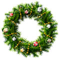 Christmas wreath with decorative beads and balls decorated of pine branches isolated on white background qualitative vector eps Stock Photos