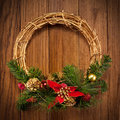 Christmas wreath on the door Stock Photos