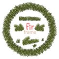 Christmas wreath with fir beuncher on white background. Xmas decorations. Vector eps10 illustration