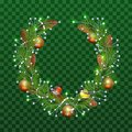 Christmas wreath of fir branches on transparent green background. Holiday decoration christmas balls, pine cones, bullfinch and ti