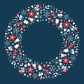 Christmas wreath flat illustration