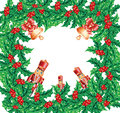 Christmas wreath frame Stock Image