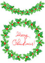 Christmas wreath (frame) and garland of watercolor branches with the red berries and green leaves (holly tree) Royalty Free Stock Photo