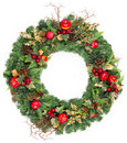 Christmas wreath with golden decoration Royalty Free Stock Photography