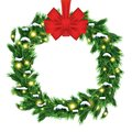 Christmas Wreath with Green Fir Branch and Red Bow Isolated on W Royalty Free Stock Photo