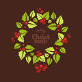 Christmas wreath greeting card with a wreaths and merry message Royalty Free Stock Images