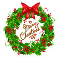 Christmas wreath of holly beautiful with bow candy and greeting Royalty Free Stock Photography