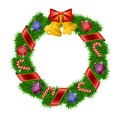 Christmas wreath isolated on white background vector illustration Royalty Free Stock Images