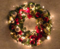Christmas Wreath Lit Royalty Free Stock Photography