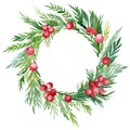 Christmas wreath made of leaves, red berries, holly on an isolated white background, watercolor drawing Royalty Free Stock Photo