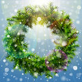 Christmas wreath with overhead lighting and snowfa of pine branches without decoration qualitative vector eps illustration for new Stock Photography