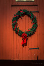 Wreath on red barn
