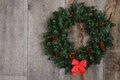 Christmas wreath with red bow Stock Photo