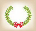 Christmas wreath with red bow background