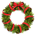 Christmas Wreath with Red Bow Royalty Free Stock Photo