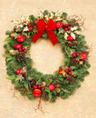Christmas wreath with red ribbon Royalty Free Stock Image