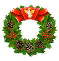 Christmas wreath with red ribbon and angel Royalty Free Stock Image