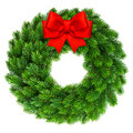 Christmas wreath with red ribbon bow decoration Royalty Free Stock Photo