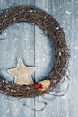 Christmas wreath rustic in winter snow Royalty Free Stock Photography