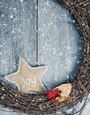 Christmas wreath rustic in winter snow Royalty Free Stock Image