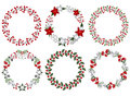 Christmas wreath set Royalty Free Stock Photo