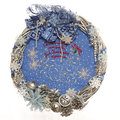 Christmas wreath a silver twig and blue inside with snowflakes and blue ribbon bow Stock Photography