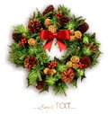 Christmas wreath with swords and a red bow isolated. Royalty Free Stock Photo
