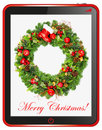 Christmas wreath with tablet pc frame Stock Photos