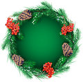 Christmas wreath for the text in form of decorative composition of pine needles cones and rowan Stock Image