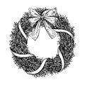 Christmas wreath. Vector hand drawn illustration with fir tree b