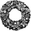Christmas wreath vector image of the hand drawn Stock Photography