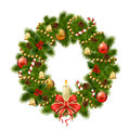 Christmas wreath on white background xmas decorations vector eps illustration Royalty Free Stock Photo