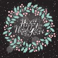 Christmas wreath with the wish a happy new year vector illustration Royalty Free Stock Photo