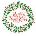 Christmas wreath with the wish a happy new year vector illustration Royalty Free Stock Photos